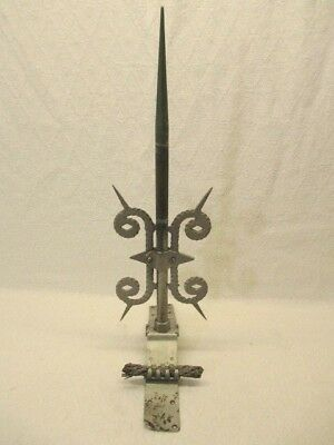 """Antique Copper Weather Vane Lightning Rod Topper Pointed Tip Parts 19"""" Tall"""