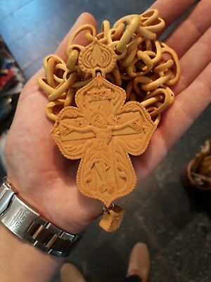 Christian Orthodox large willow wood Pectoral Priest Cross