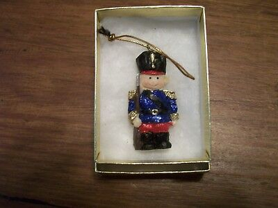 "Christmas Tree Ornament Toy Soldier Boy - Miniature -  2"" hi - Resin - Gift Box"