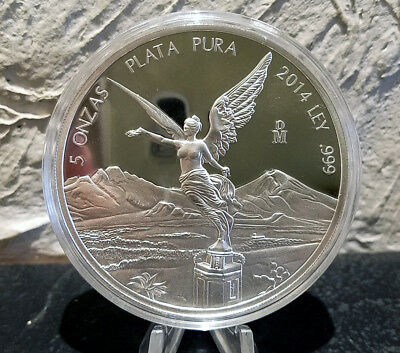 2014 5 oz Silver Libertad Proof in capsule Low Mintage Year Only 800