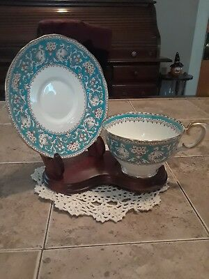 Crown Staffordshire Ellesmere Turquoise Cup And Saucer with Gold Trim