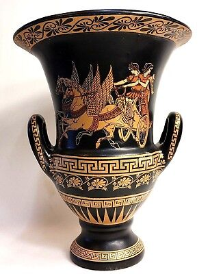Ancient Greek Heros Warriors Chariot Achilles Rare Art Pottery Vase Krater