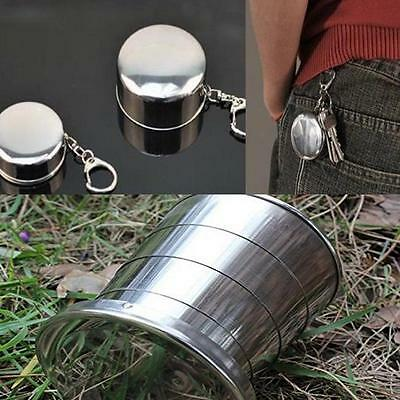 Stainless Steel Outdoor Survival Folding Travel Cup Key Chain Ring Keychain D
