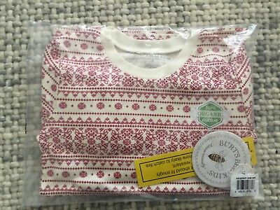 Burts Bees Organic Boy Girl Unisex Two Piece Pajamas Size Small Holiday