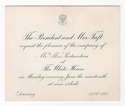 1911 White House Invitation from Pres & Mrs Taft for Dancing