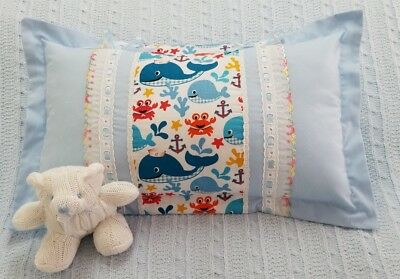 Throw Pillow Case Baby whales, rectangle cushion Cover 11x18 Inches soft blue.