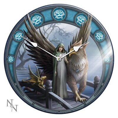 Realm Of Tranquility - Fantasy Gothic Griffin Glass Wall Clock by Anne Stokes
