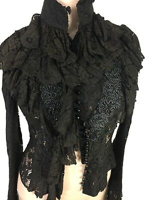antique 1890s 1900s Victorian Edwardian style lace top blouse dress beaded S