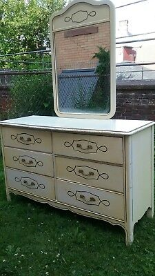 Vtg Mid Century French Provincial 6 Drawer Dresser White w Mirror HARMONY HOUSE