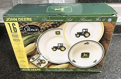 John Deere 16 Piece Gibson Dinnerware Set Plates Mugs Bowls Service for 4 NIB