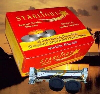 New 100 Pcs STARLIGHT Hookah Charcoal Quick Lite Shisha coal Incense 10 Rolls