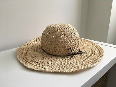 08790e1a8ab San Diego Hat Co Wide Brimmed Floppy Natural Straw Sun Hat Leather Trim Bow