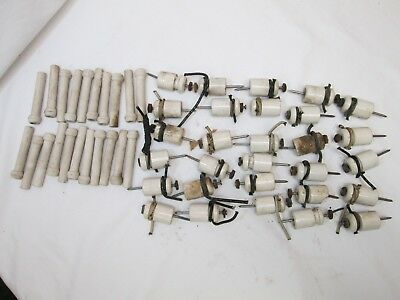Vintage Electrical Insulator Porcelain 21 Tube And 30 Knob