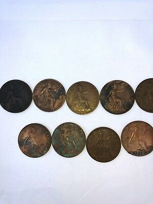 Vintage Coins British Penny Lot Of 11 Circulated 1901-1940
