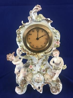 Fine Antique Dresded / Volkstedt Porcelain Two Winged Cherub Clock.