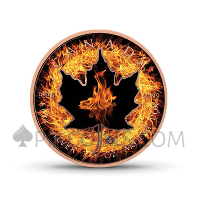 CANADA 2018 5$ MAPLE LEAF 1oz, FOUR ELEMENTS SERIE - FIRE - ROSAGOLD & FARBE