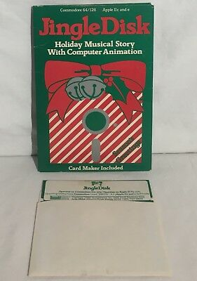 """JINGLE DISK Commodore 64 & Apple II Software 5.25"""" Disk In Box TESTED & WORKING"""