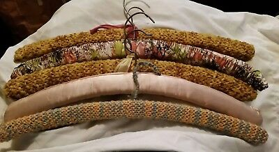 Clothes hangers Vintage padded, covered in original material x 5