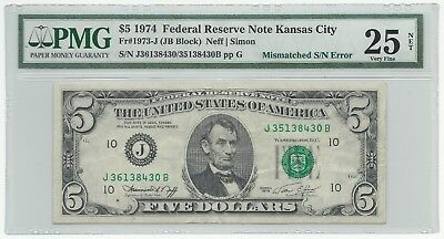 1974 5$ PMG 25 Federal Reserve ERROR Note   Mismatched S/N's