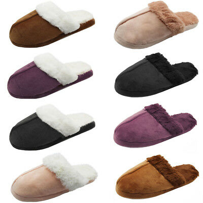 Womens Furry Slide Slippers Suede Fuzz Cozy House Shoes Scuff Mule Sandal