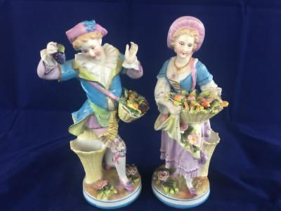 Stunning Pair Of Antique French Paris Sevres Porcelain Figurines.