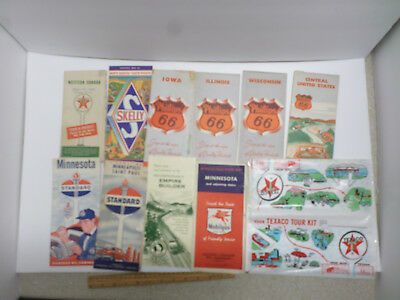 Vintage U.s. Road Maps From Various Oil Companies - Lot Of 10