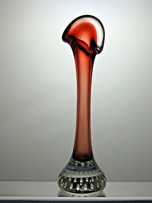 Vintage Red and clear Glass Bud Vase With Bubble Paperweight Base