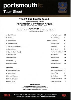 2007/08 Portsmouth v Plymouth Argyle FA Cup TEAMSHEET