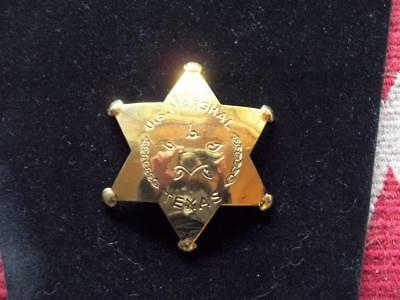 Brass Western Us Marshal Texas Badge 6 Pt Star Lawman Pin Pinback Western West