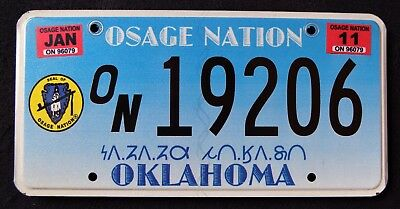 """OKLAHOMA """" OSAGE NATION TRIBE - TRIBAL SEAL """" OK Indian Graphic License Plate"""