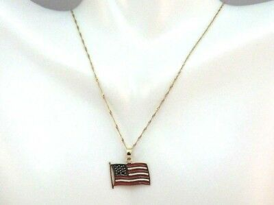 """Unique 10K Solid Yellow Gold American Flag Pendant Necklace 18"""""""