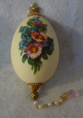 "Egg Shaped 5"" Victorian Style Christmas Ornament Pink Blue Flowers Bead Dangles"
