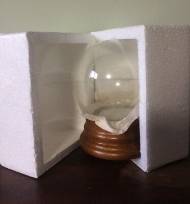 "DIY 4 1/2"" Glass Snow Globe Kit with maple finish base"