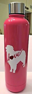 Aussie Rescue - 17 oz double walled stainless steel water bottle - Flame Pink