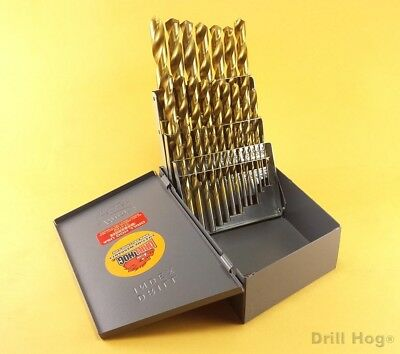 Drill Hog® 29 Pc Titanium Bit Set Drill Index Ti-22 Drills Lifetime Warranty