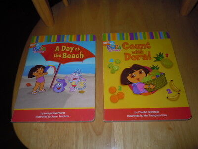 Dora The Explorer 2 Board Books Count With Dora & A Day At The Beach Guc