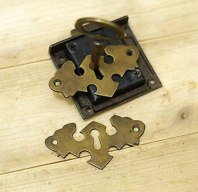 "Set 2.63"" Brass Escutcheon WING Key Hole with Key Lock and Antique SKELETON Key"