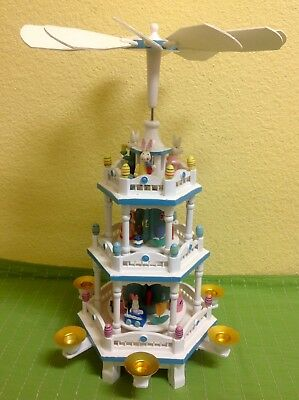 "Wooden Carousel Candle Powered 3 Tier EASTER 18"" Pyramid Windmill Lillian Vernon"