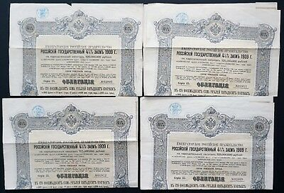 Russia - Russian Imperial Government - 1909 - 4,5% bond for  187,50 roubles (4x)