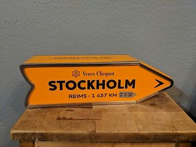 Veuve Clicquot Champagne Metal Tin Street Sign Box Stockholm Sweden from Reims