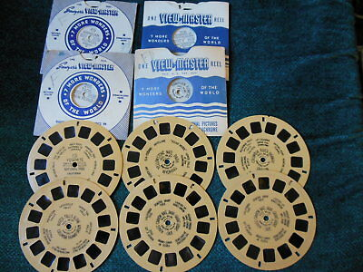 Lot of 10 Vintage Viewmaster Reels All the hand lettered style