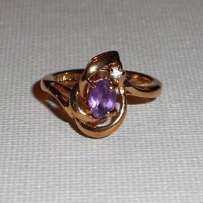 Vintage Genuine Purple Amethyst Gemstone Gold Cocktail Ring Size 5