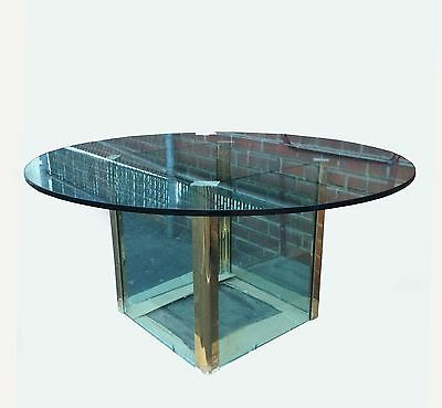 PACE COLLECTION By Leon Rosen Vintage Brass & Glass DINING ROOM TABLE