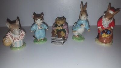 Lot of 5 Vintage Beatrix Potter Beswick and Royal Doulton Ceramic Figurines