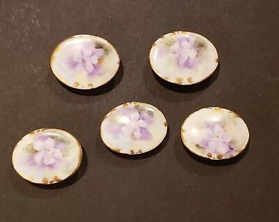 Vintage Antique Lot of 5 Stud Buttons Porcelain Hand Painted Victorian Lilly