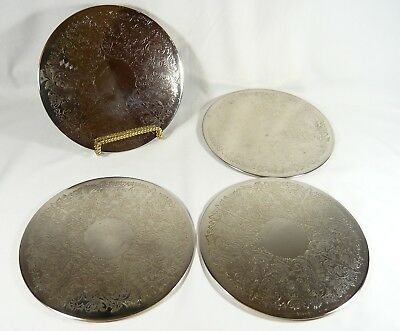 4 Early HENRY BIRKS & COMPANY SILVER Plate  Table Protectors 8 inch COASTERS HBC