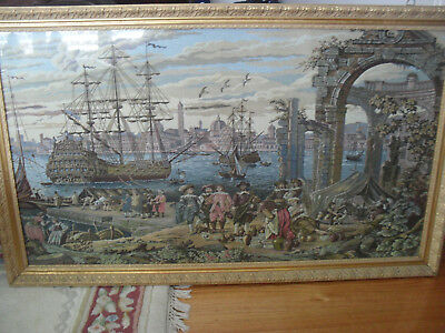 Pictured Framed Tapestry Of Spanish Gallion
