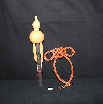 LMAS ~ Chinese Reed Gourd Flute Souvenir & Braided Reed Wall Hanging
