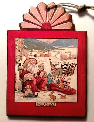 Feliz Navidad Ornament St. Nick New Mexico Southwest Handcrafted Wood Retablo