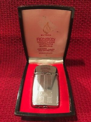Vintage Retro Ronson Varaflame Windlite Slimline Butane Cigarette Lighter - Box